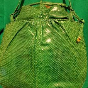Judith Leiber Green Lg. Snakeskin Bag